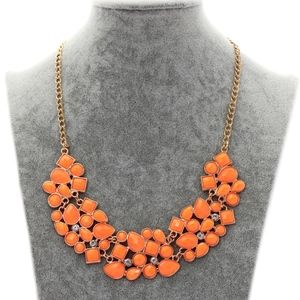 Jewelry - Orange Jewel Gemstone Statement Bib Style Necklace